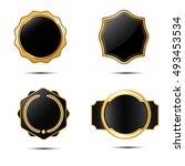 set of different  glossy  black ... | Shutterstock .eps vector #493453534