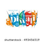 happy diwali text design.... | Shutterstock .eps vector #493456519