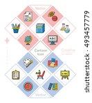 icon set school vector | Shutterstock .eps vector #493457779