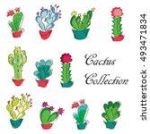 green desert plant nature...   Shutterstock .eps vector #493471834