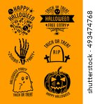 set of halloween stylish logos... | Shutterstock .eps vector #493474768