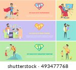 dads day. super dad with his... | Shutterstock .eps vector #493477768