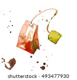 tea bag painted with watercolor.... | Shutterstock . vector #493477930