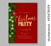 christmas party invitation... | Shutterstock .eps vector #493478359