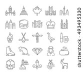 set vector line icons in flat... | Shutterstock .eps vector #493495330