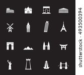 Landmark White Icons Vector...