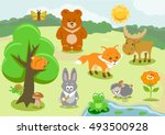 woodland animals and cute... | Shutterstock .eps vector #493500928