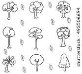 hand draw tree set doodle