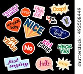 fashion patch badges. set with... | Shutterstock .eps vector #493508449