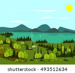 the family has a rest at the... | Shutterstock .eps vector #493512634