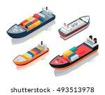 set of seagoing cargo ships.... | Shutterstock .eps vector #493513978