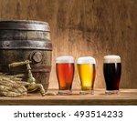 glasses of  beer and ale barrel ... | Shutterstock . vector #493514233