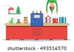 elf making gifts for christmas... | Shutterstock .eps vector #493516570