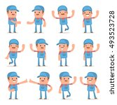 set of funny and cheerful... | Shutterstock .eps vector #493523728