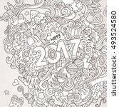 cartoon cute doodles hand drawn ... | Shutterstock .eps vector #493524580
