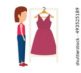 woman and pink dress | Shutterstock .eps vector #493525189