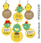 cute durian hanging tag vector  ... | Shutterstock .eps vector #493526239