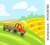field and tractor. farm... | Shutterstock .eps vector #493528780