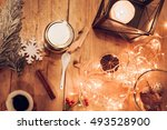 dessert in a jar with christmas ... | Shutterstock . vector #493528900