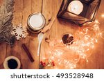 dessert in a jar with christmas ... | Shutterstock . vector #493528948