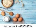 ingredients for cooking  milk ... | Shutterstock . vector #493531714