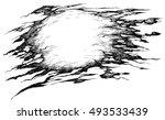 shreds of torn pirate flag  ... | Shutterstock .eps vector #493533439