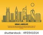 urban landscape in line vector... | Shutterstock .eps vector #493541014
