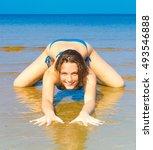 bikini workout sporty portrait  | Shutterstock . vector #493546888