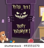 happy halloween background.... | Shutterstock .eps vector #493551070
