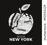 new york big apple t shirt...   Shutterstock .eps vector #493552129