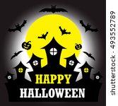 halloween  castle  graveyard ... | Shutterstock .eps vector #493552789