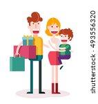 family loves shopping together. ... | Shutterstock .eps vector #493556320