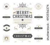 christmas labels and badges... | Shutterstock .eps vector #493556374