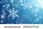 macro snowflake and fallen... | Shutterstock . vector #493557514