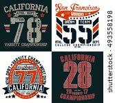 set of creative t shirt graphic ... | Shutterstock .eps vector #493558198