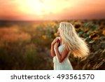 beautiful blonde young model in ... | Shutterstock . vector #493561570