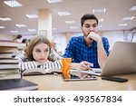 two young students working... | Shutterstock . vector #493567834