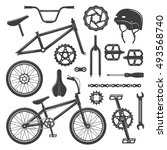 bicycle equipment and parts set ... | Shutterstock .eps vector #493568740