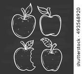apple set using doodle art or... | Shutterstock .eps vector #493568920