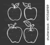 black and white apple set using ... | Shutterstock .eps vector #493568989