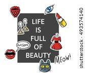 vector illustration of slogan ... | Shutterstock .eps vector #493574140