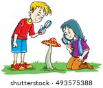 kids playing with magnifying... | Shutterstock .eps vector #493575388
