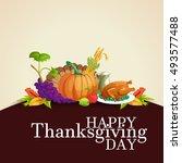 happy thanksgiving day postcard.... | Shutterstock .eps vector #493577488