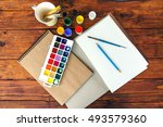 watercolors  gouache and paper... | Shutterstock . vector #493579360