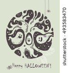 halloween greeting card. hand... | Shutterstock .eps vector #493583470