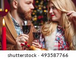 attractive happy couple on... | Shutterstock . vector #493587766