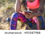 sporty woman taking a workout... | Shutterstock . vector #493587988