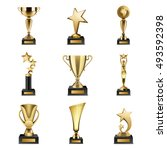 beautiful golden trophy cups... | Shutterstock .eps vector #493592398