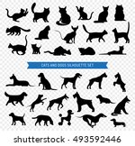 Stock vector black silhouette set of different breeds of dogs and cats on transparent background isolated vector 493592446