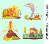 natural disaster retro cartoon... | Shutterstock .eps vector #493593130